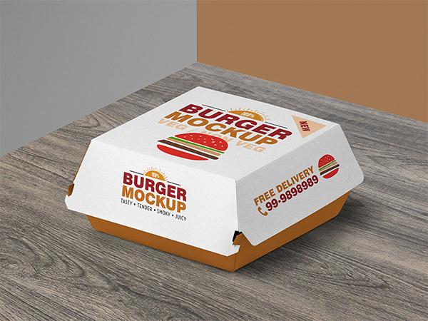 Free Burger Box Packaging Mockup PSD