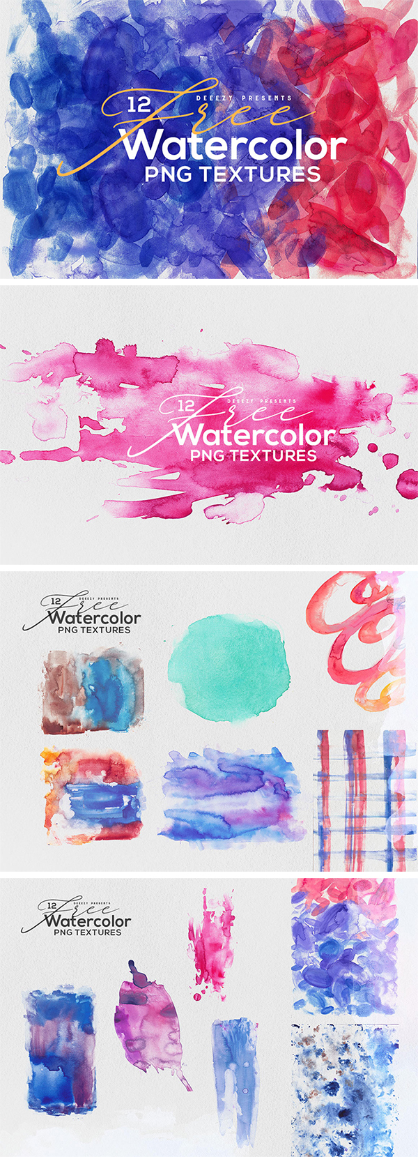Freebie : 12 Elegant Abstract Watercolor Textures For Designers (PNG)