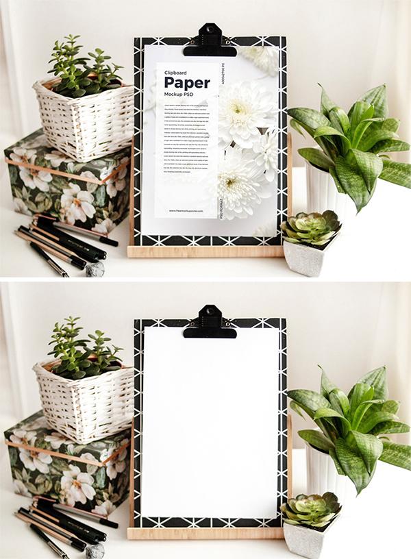 Free Download Creative Clipboard Paper PSD Mockup