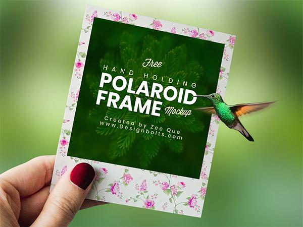 Free Polaroid Photo Frame Mockup PSD
