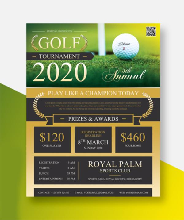 Free Modern Golf Tournament Flyer Template
