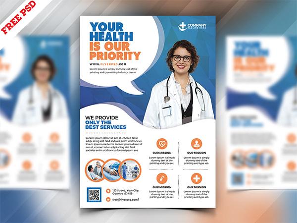 Hospital and Health Care Flyer PSD