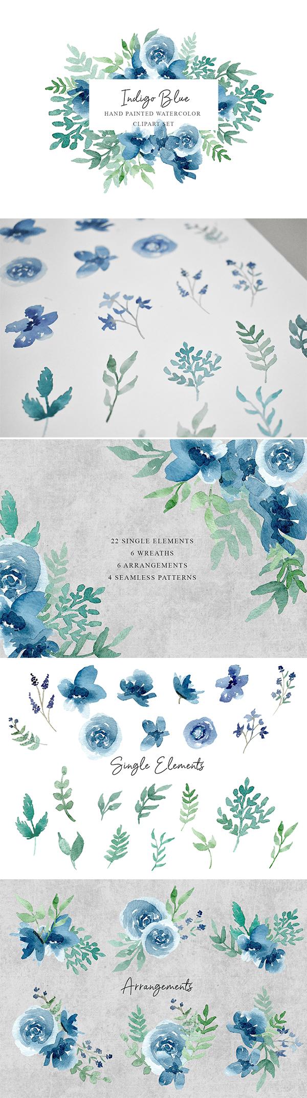 Indigo Blue Flowers Clipart Set