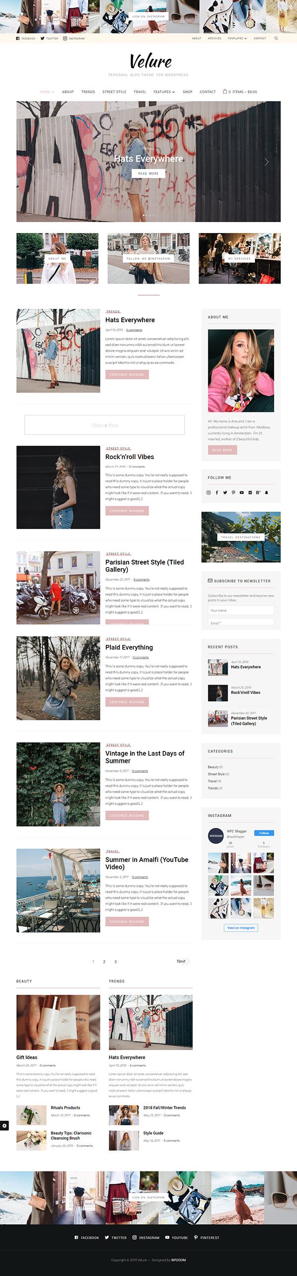 Velure - Fashion Blog WP Theme