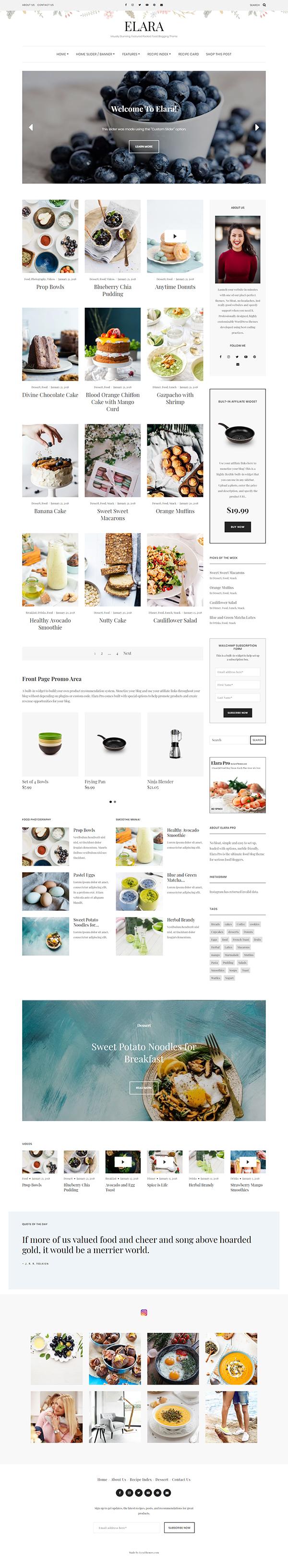 Elara - A Beautiful Food Blog Theme