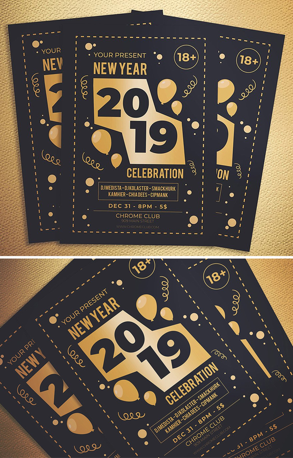 Dark New Year Party Flyer Template