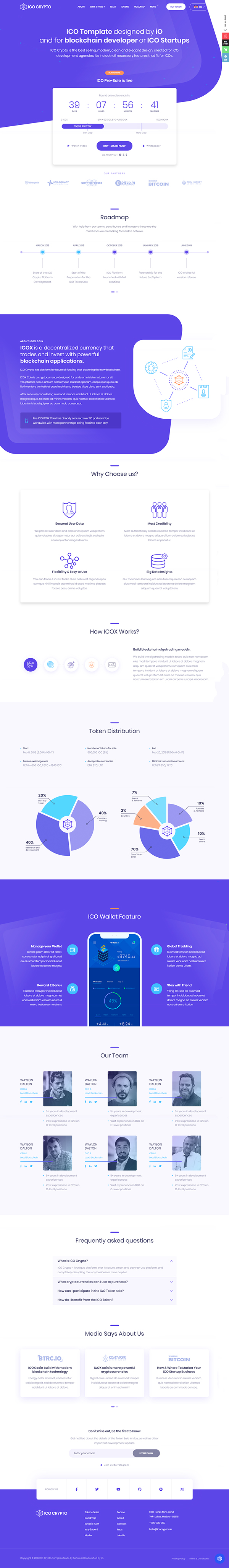ICO Crypto - Bitcoin & Cryptocurrency ICO Landing Page HTML Template + User Dashboard