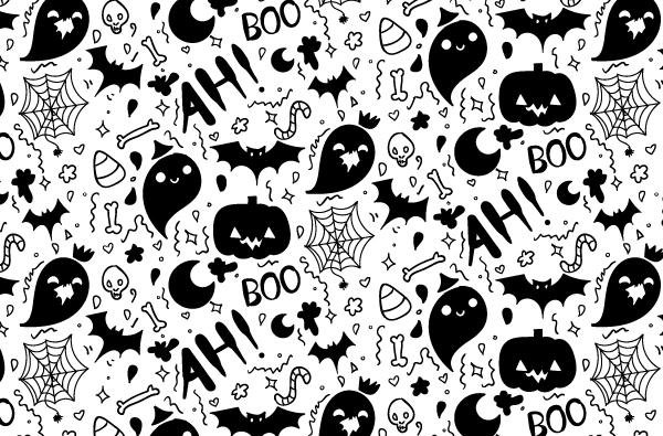 Boo-filled Hand Drawn Halloween Pattern