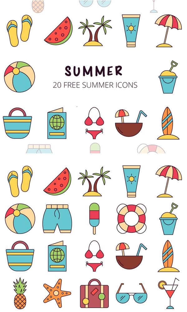 Summer Vector Free Icon Set