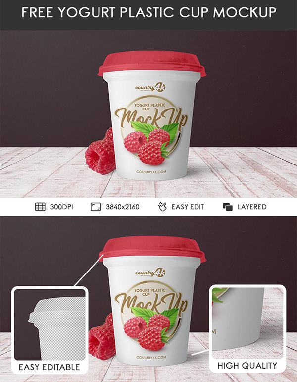 Free Yogurt Plastic Cup PSD MockUp