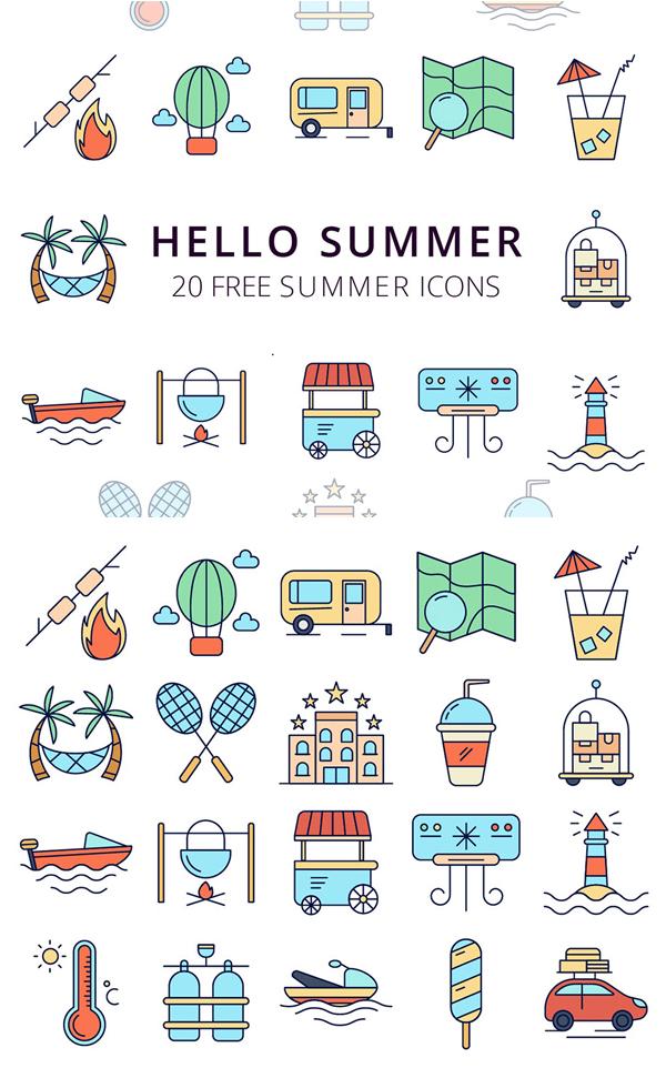 Hello Summer Vector Free Icon Set