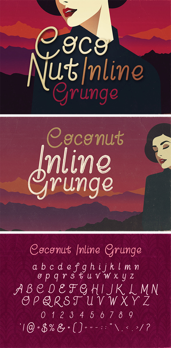 Coconut Inline Grunge – Free Font
