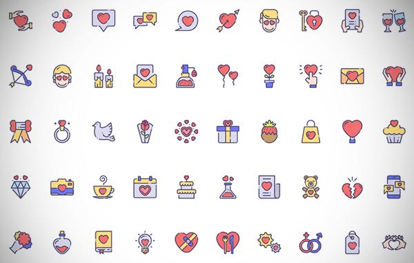 50 Love Icon Set Free Download