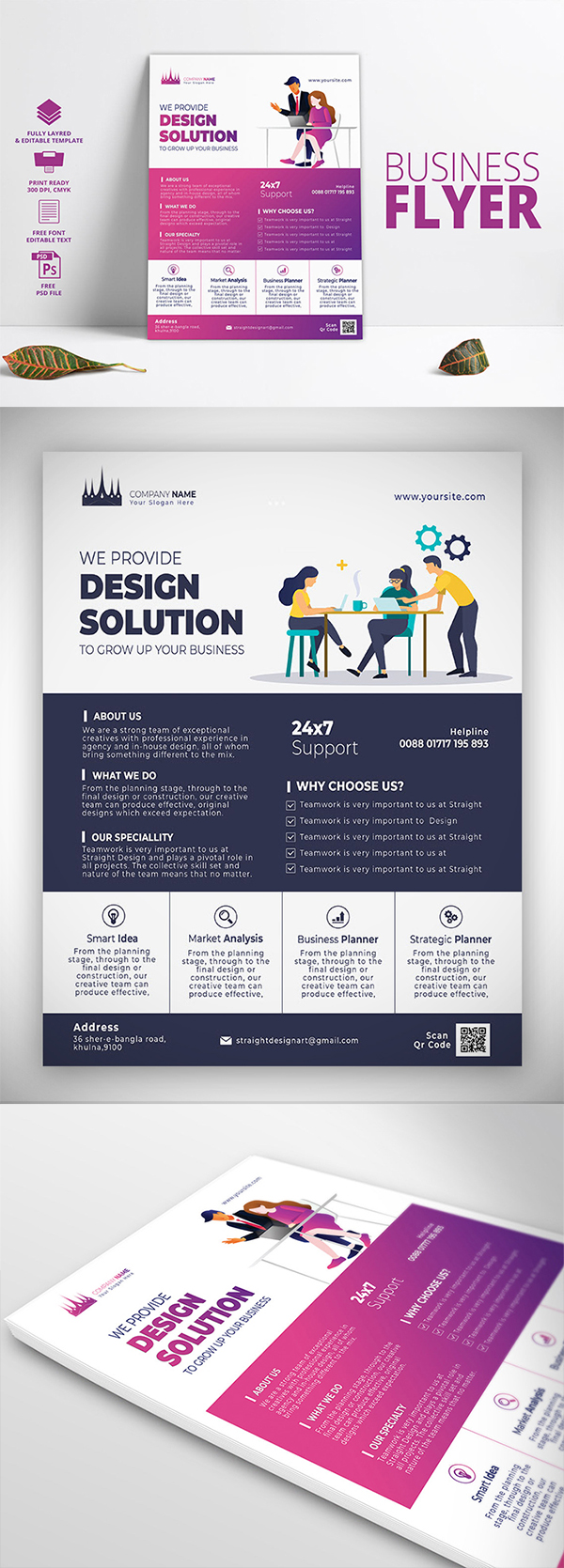 Free Download Corporate Print Ready Business PSD Flyer Template