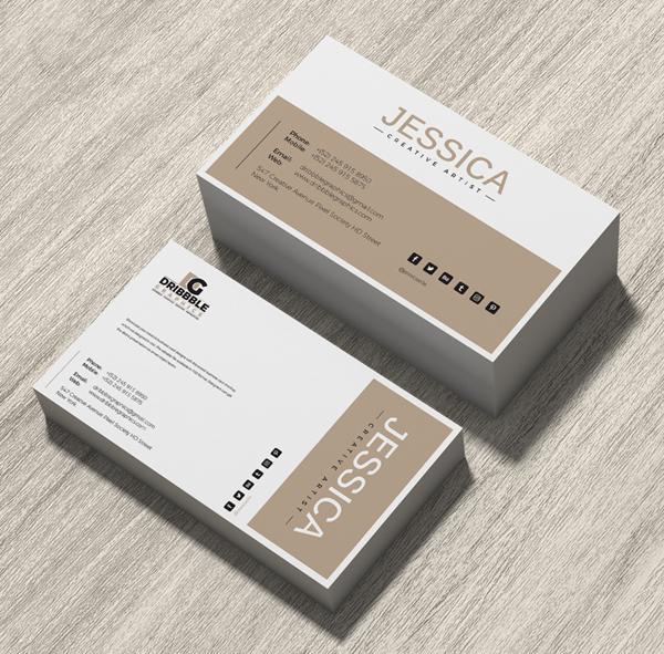 Free Brand Business Card Mockup on Wood