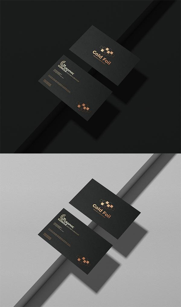 Free Download Creative Black Gold Foil Business Card PSD Mockup
