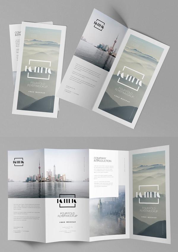 Quad Fold Brochure Mockups