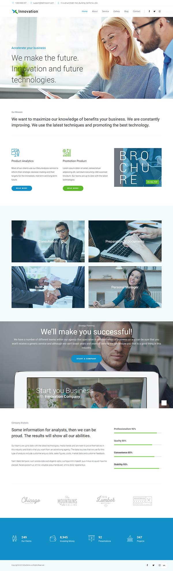 Innovation Business Corporate WordPress theme