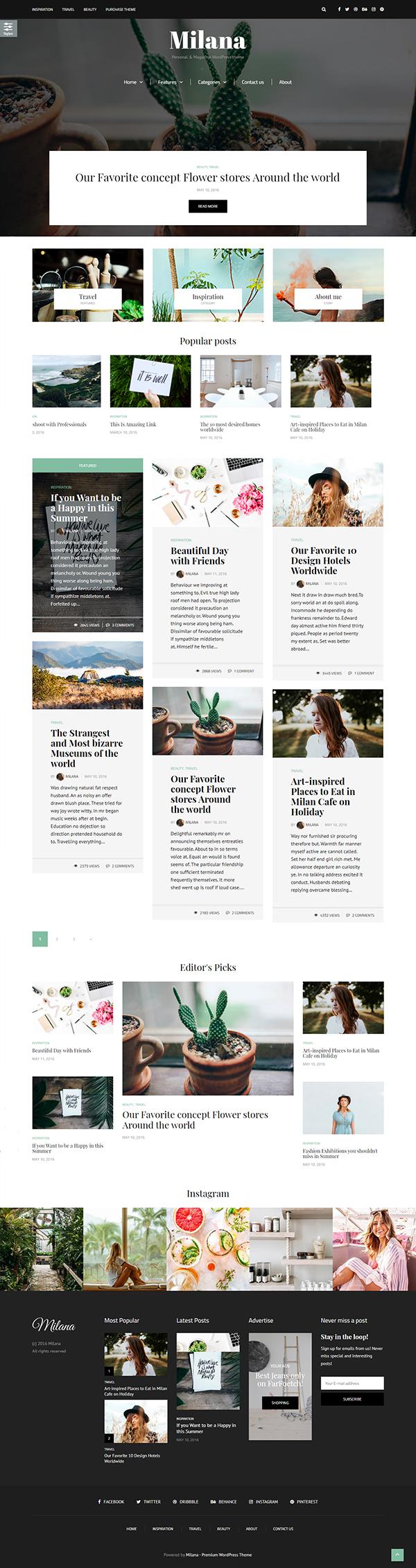 Milana - WordPress Blog & Shop Theme