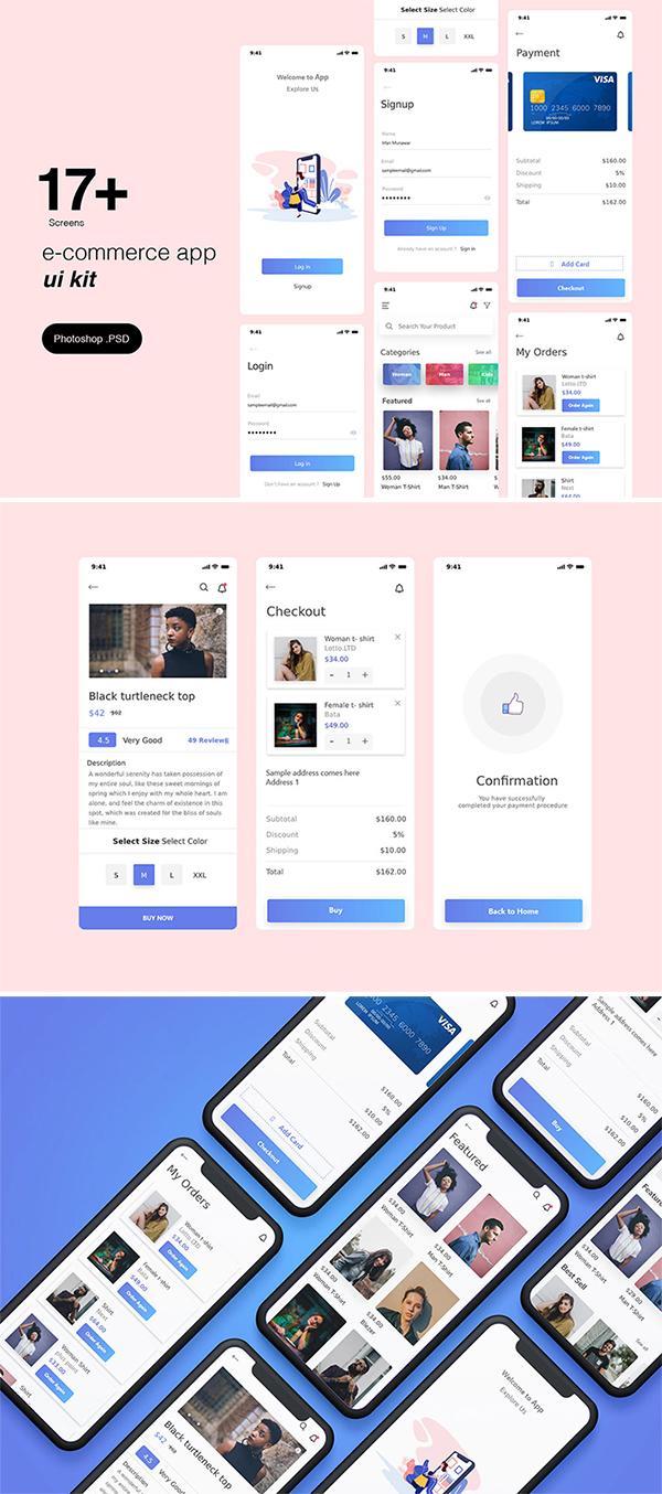 Free Download E-commerce App Template Design (2020)