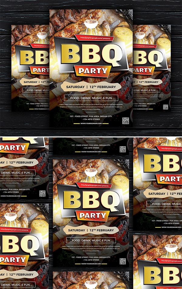 Free Modern BBQ Party Flyer Template