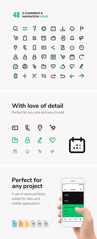 E-commerce & Navigation Vector Icons Set
