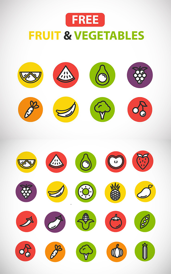 Awesome Fruit and Vegetables Icons Free Download