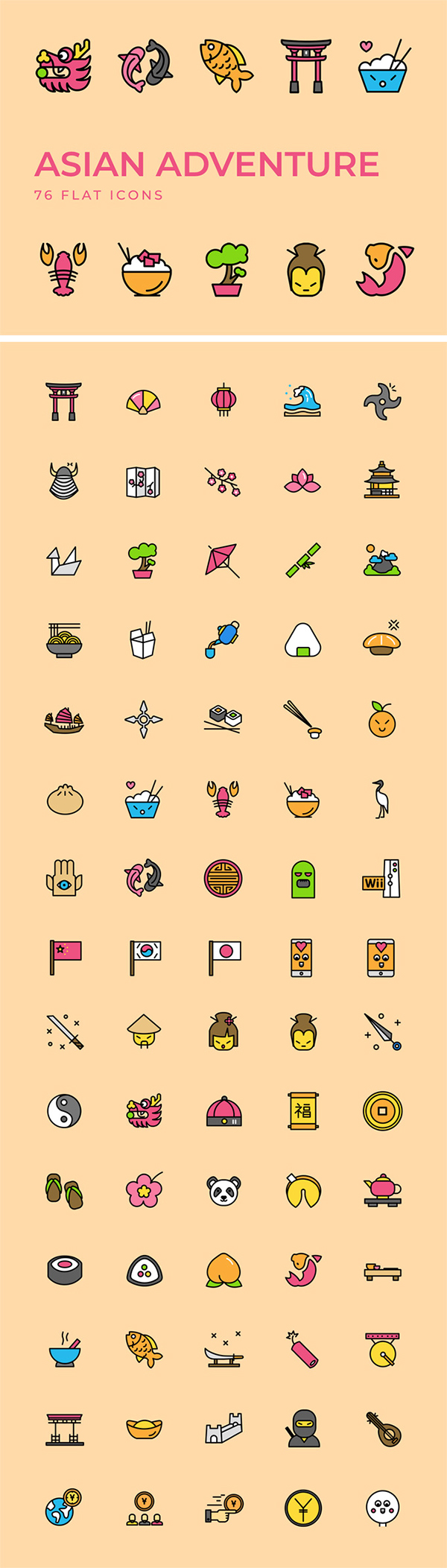 Asian Adventure Flat Icons Kit