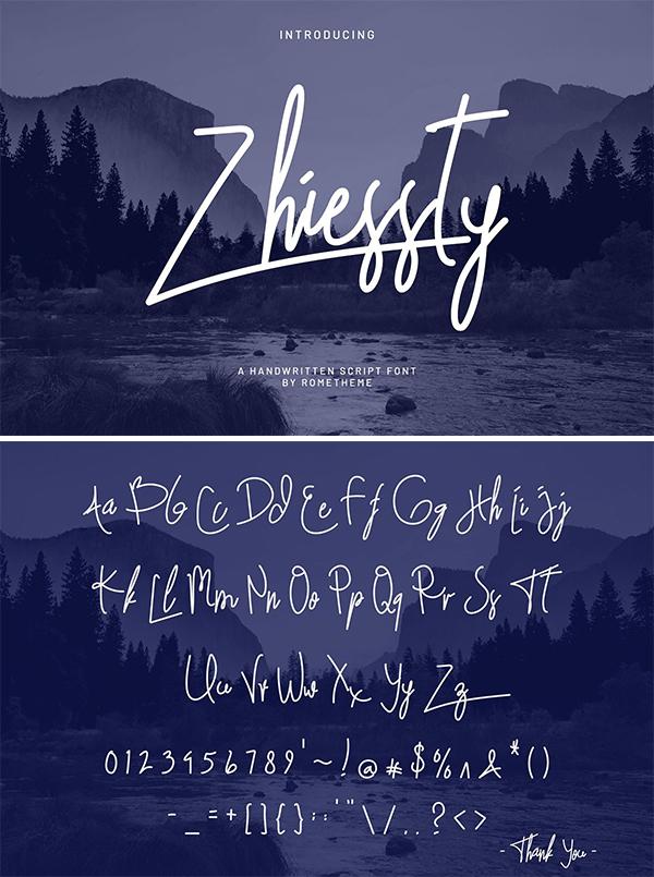 Zhiessty Signature Font Design