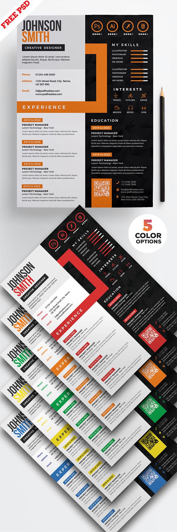 Creative CV Resume Design PSD Templates