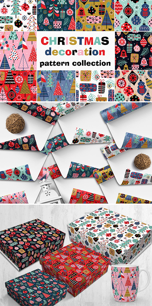 Elegant & Colorful Christmas Decorations Patterns Free Download