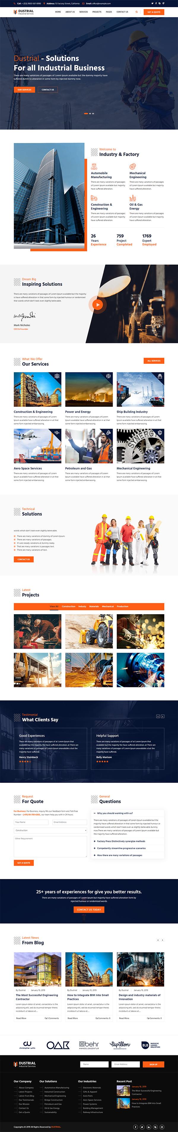 Dustrial - Factory & Industrial WordPress Theme