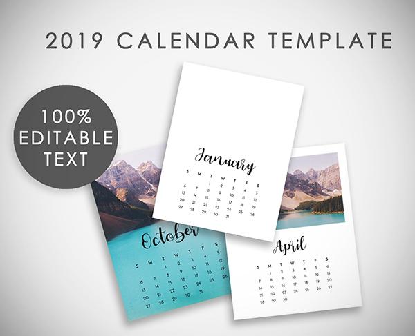 Editable 2019 Calendar Template Psd
