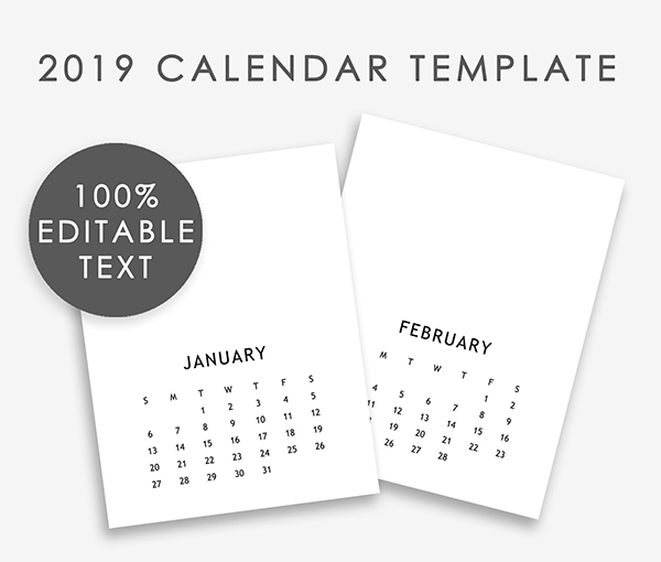 Editable Calendar Template 2019
