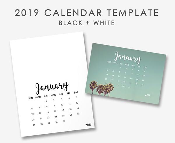 Black & White New Year Calendar