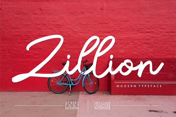 Zillion Modern Script Font Design