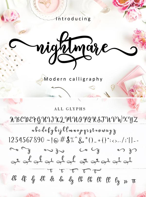 Nightmare Script Font Design