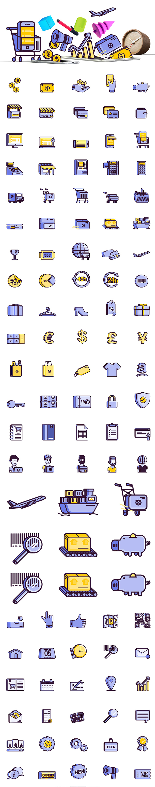 E-commerce 100 Free Icon pack