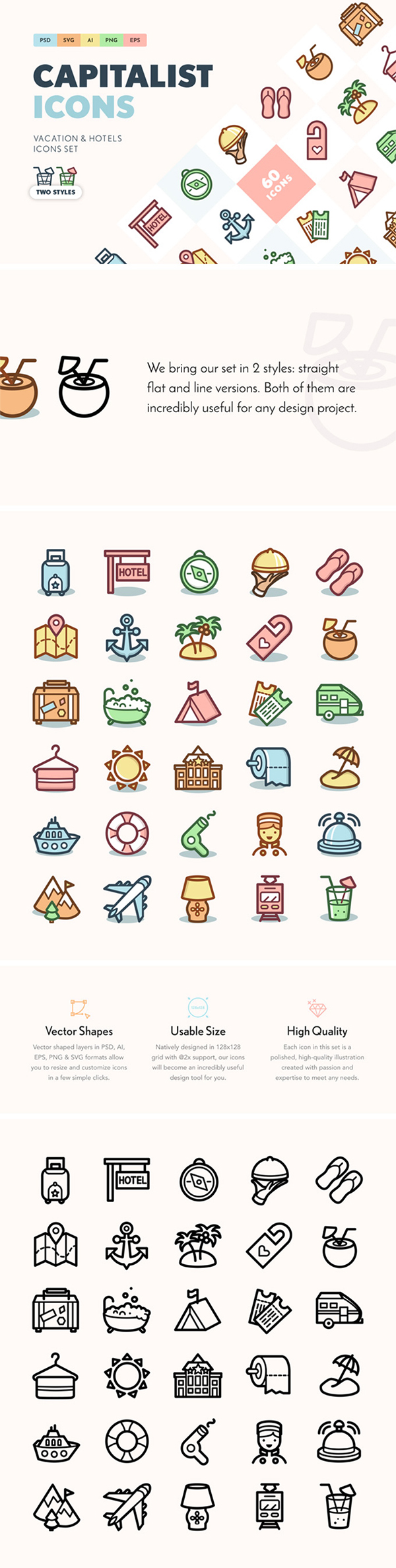 Free Download 60 Creative Flat Vector Vacation & Hotels Icons Set