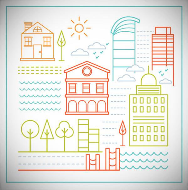 Create a Basic Shapes Little City Illustration