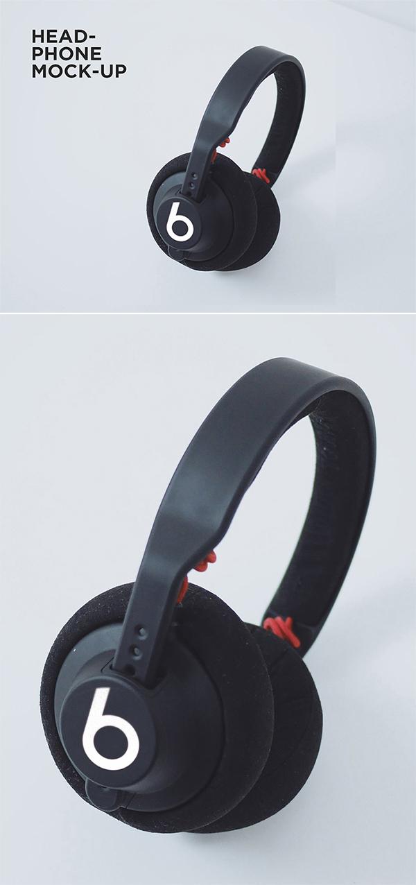 Free Download Creative Head-Phones Logo PSD Mockup