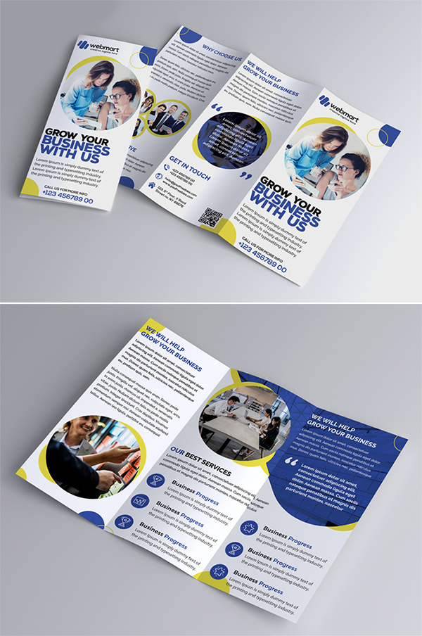 Free Download Awesome Business Tri-Fold Brochure PSD Template