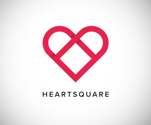 Heart Square Logo Template