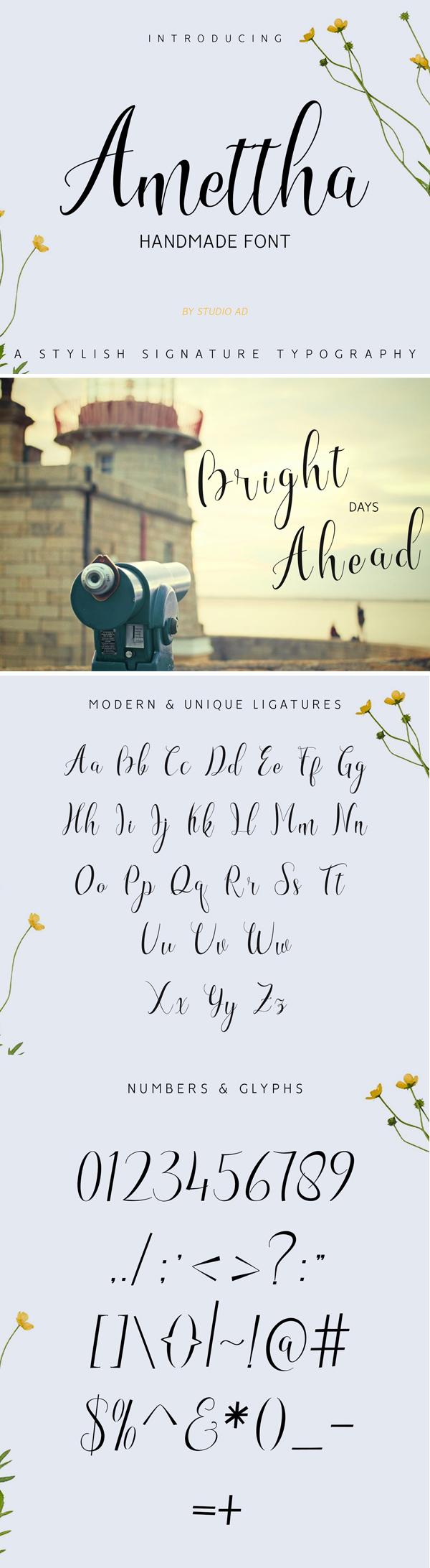 Amettha Script Font