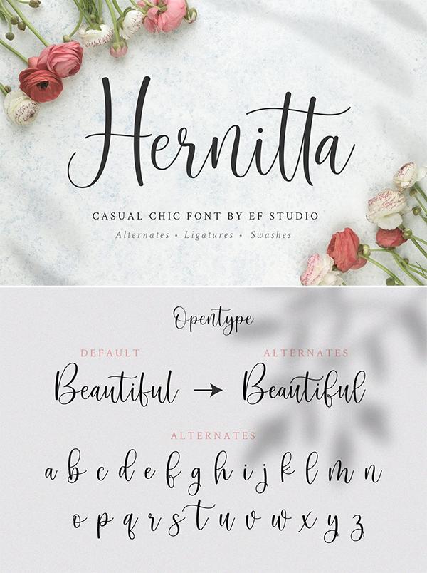 Hernitta Script Font
