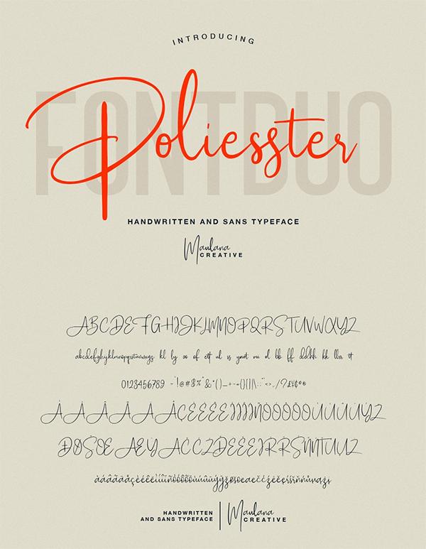 Poliesster - Font Duo Script Sans