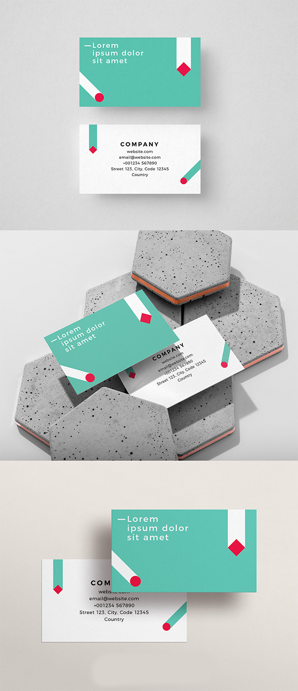 Gravity Shapes Free Business Card Template