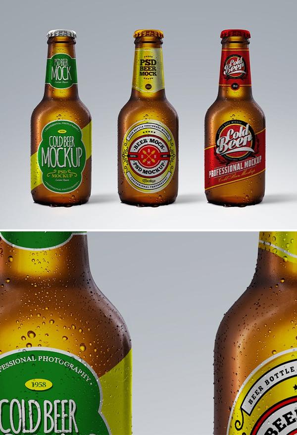 Cold Beer Brown Bottle 20cl Mockup