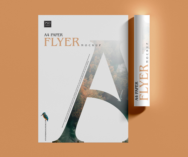 Free Top View A4 Flyer Mockup