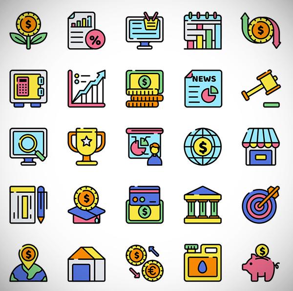 25 Economics Icon Set